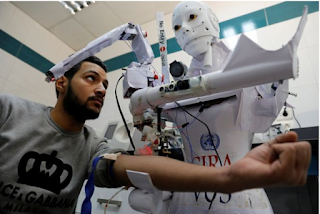 A human-like Robot that can detect coronavirus and enforce face mask rules undergoes trials In Cairo, Egypt