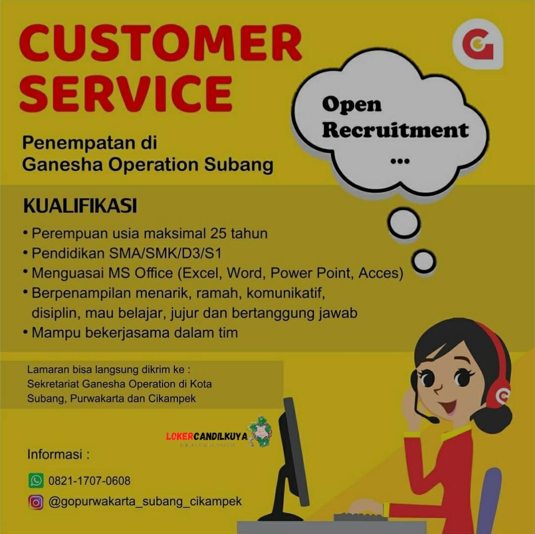 Lowongan Kerja Customer Service Ganesha Operation Subang
