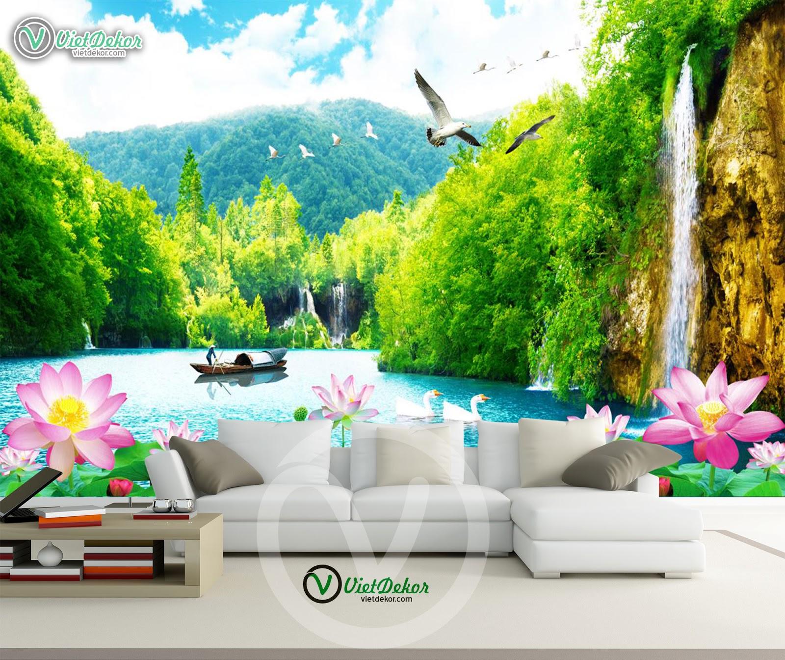 Tranh dán tường phong cảnh mây núi rừng sông nước cho phòng khách