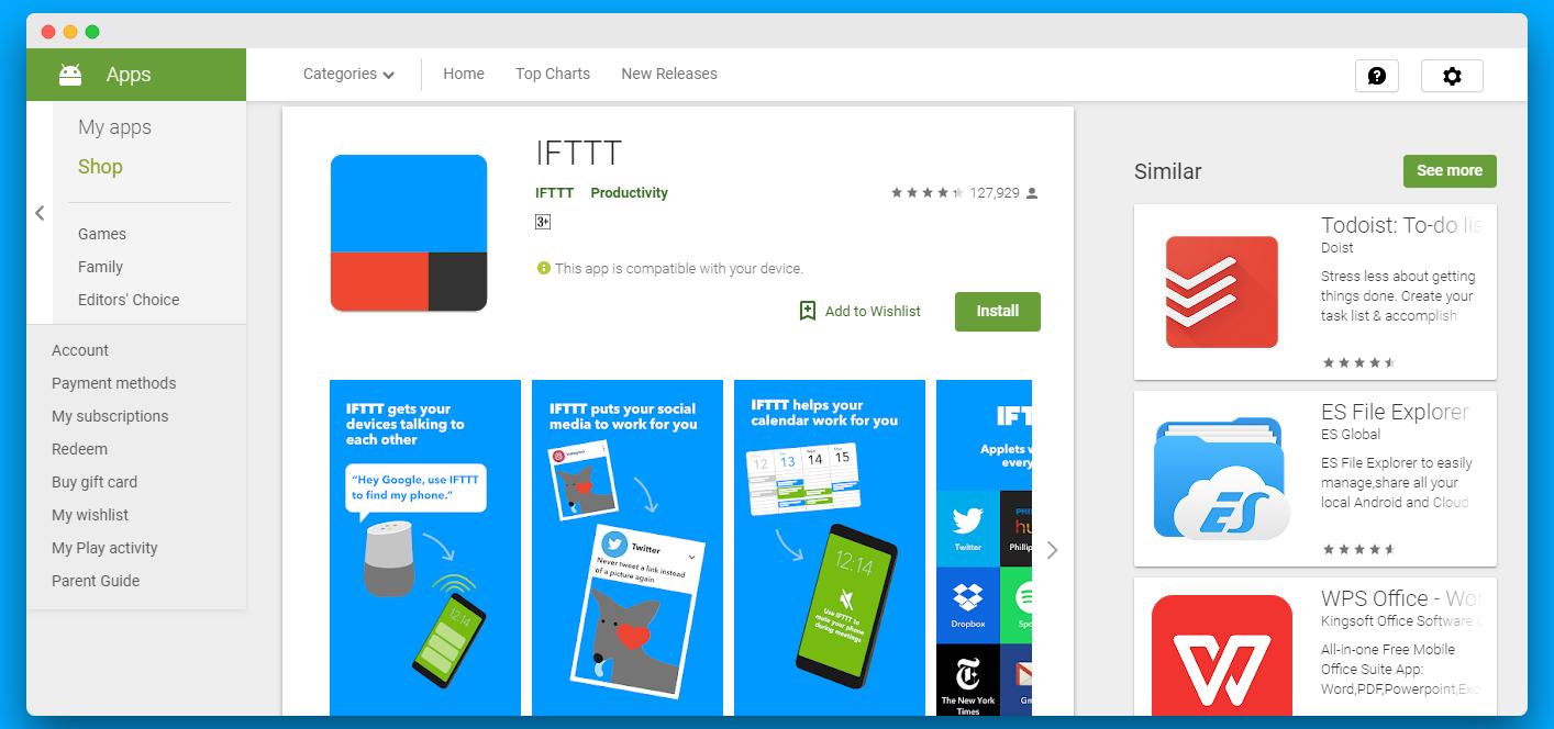 IFTTT android app