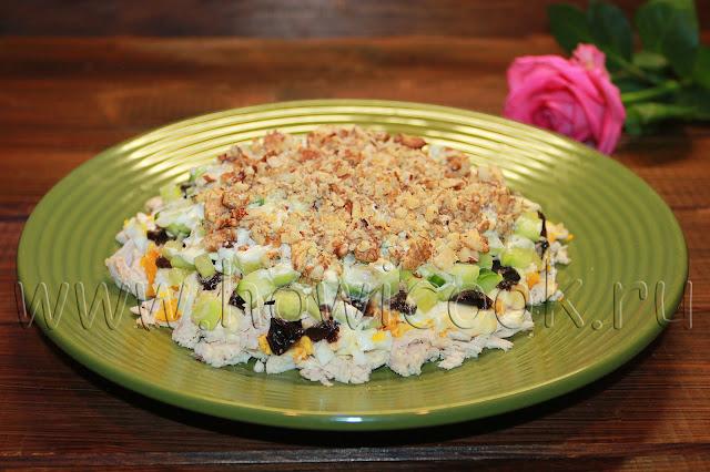 рецепт салата с курицей и черносливом