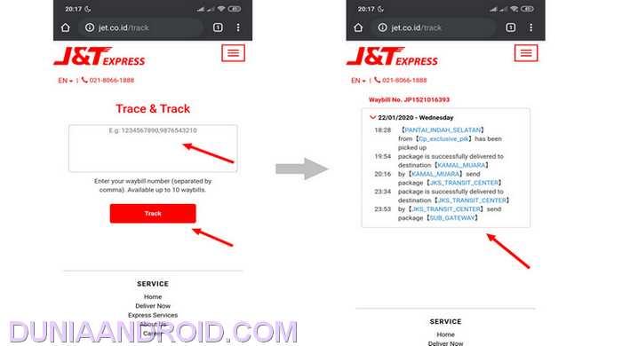 Melacak kiriman J&T dari situs resmi