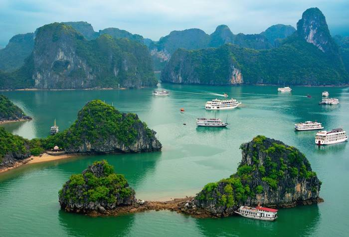 "Ha long Bay, located in North Vietnam, has a 120 km long coastline and literally translates as ""Descending Dragons Bay"""