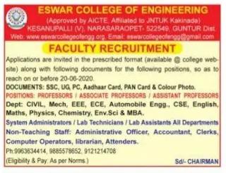 Guntur, Eswar College Of Engineering Professor, Assistant Professor Faculty Jobs 2020