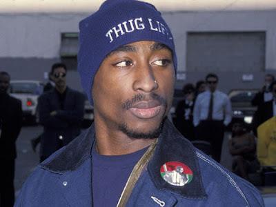 Tupac THUG LIFE navy blue beanie hat.  PYGEAR.COM