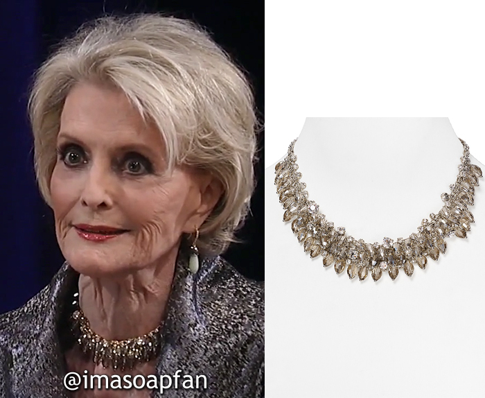 Helena Cassadine, Constance Towers, Smoky Crystal Cluster Necklace, ABS by Allen Schwartz, Nurses Ball, GH, General Hospital