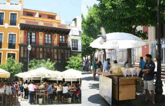 Plaza del Salvador Sevilla terraza, y puesto de patatas fritas artesanas.