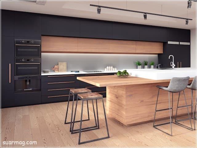 اشكال مطابخ خشب 4   wood kitchens shapes 4