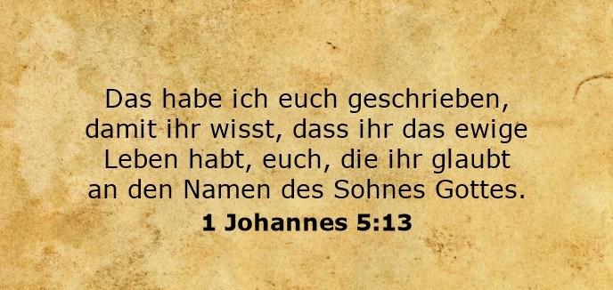 Das habe ich euch geschrieben, damit ihr wisst, dass ihr das ewige Leben habt, euch, die ihr glaubt an den Namen des Sohnes Gottes.