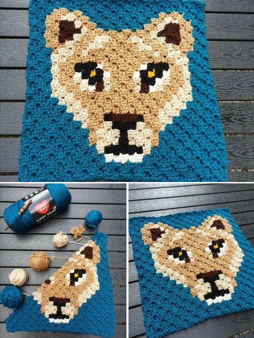 Lioness Lea C2C Square - Free Crochet Pattern