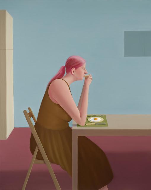 Prudence Flint, pinturas, imagenes de soledad femenina bonitas, chidas de arte inspirador, mujer instrospeccion, comida,