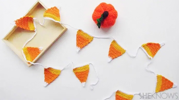 Crochet Candy Corn Garland by SheKnows