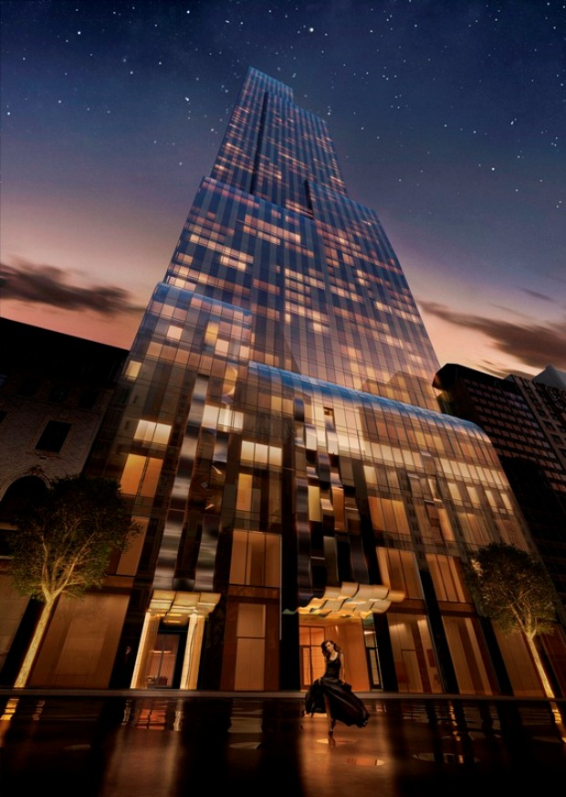Rendering of One 57 by Christian de Portzamparc at night looking up from the street