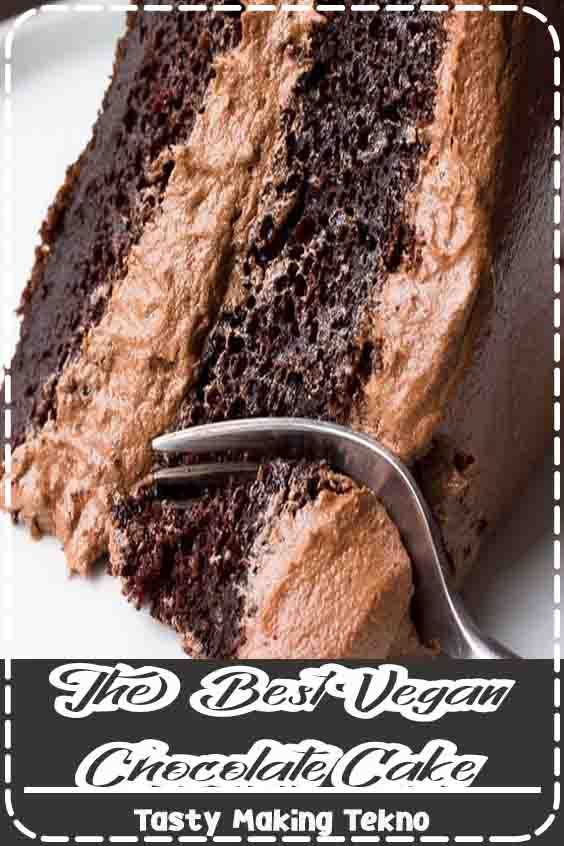 The Best Vegan Chocolate Cake- A quick and easy recipe, made in 1 bowl! This really is the best chocolate cake ever, vegan or otherwise. It's super moist, rich and full of chocolate.#chocolate #vegan #cake