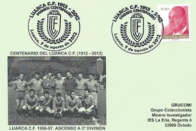 tarjeta, matasellos, Luarca C. F., fútbol