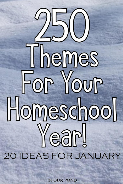 20 Theme Ideas for January as part of the 250 Theme Unit Ideas for Your Entire Homeschool Year blog post // In Our Pond