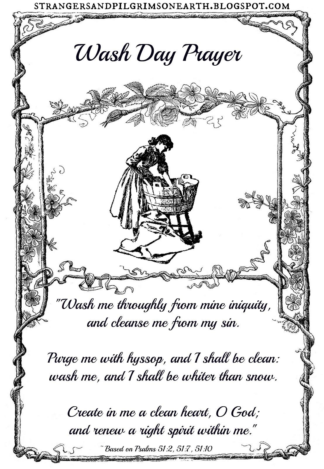 Strangers Amp Pilgrims On Earth Wash Day Prayer Free Inspirational Printable