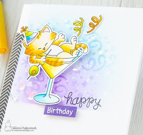Happy Birthday Card with cat and martini by Tatiana Trafimovich | Newton Celebrates Stamp Set and Confetti Stencil by Newton's Nook Designs #newtonsnook #handmade