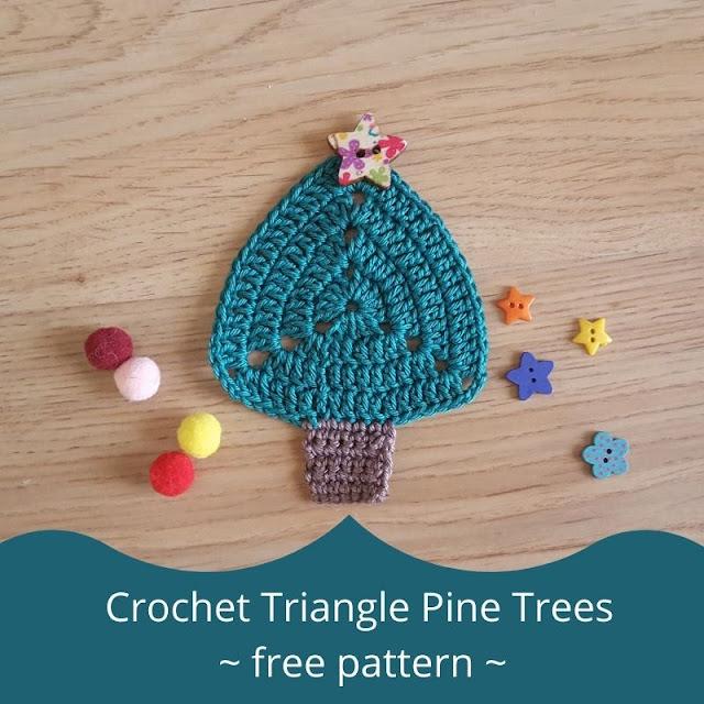 Crochet triangle pine trees - free pattern