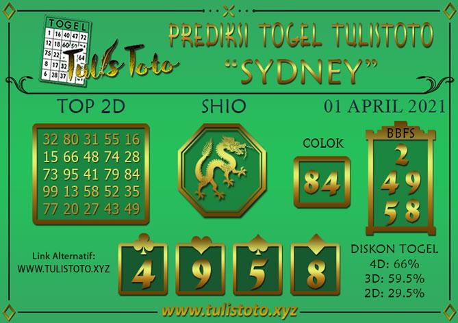 Prediksi Togel SYDNEY TULISTOTO 01 APRIL 2021