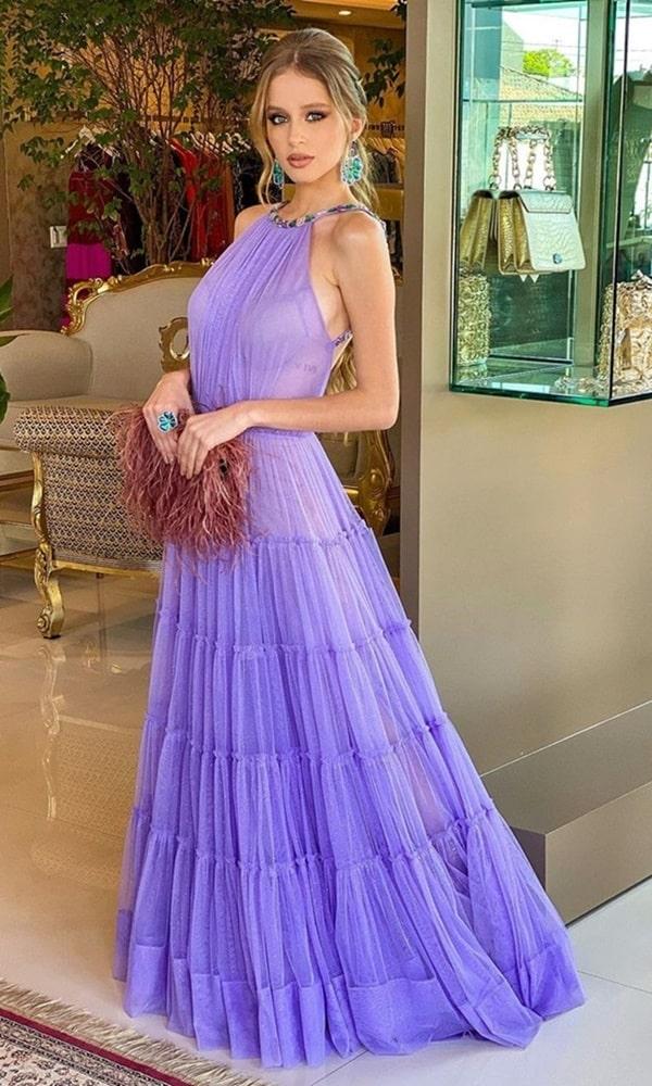 vestido longo lavanda lilas para madrinha de casamento