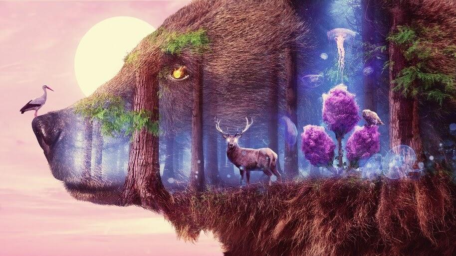 Fantasy, Forest, Animals, Deer, Bear, Nature, Digital Art, 4K, #4.552