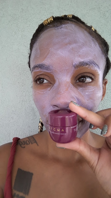 Tatcha Violet-C Radiance Mask freshly applied - www.modenmakeup.com