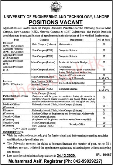 University Of Engineering And Technology Jobs 2020 Latest