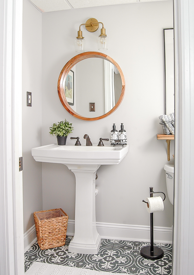 Gray and White Vintage Modern Bathroom Makeover