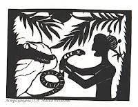 """силуэтная иллюстрация, Пратчетт, """"Ведьмы за границей"""", матушка Ветровоск змея, крокодил"""