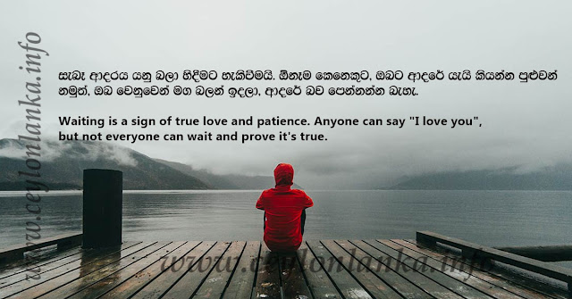 """Waiting is a sign of true love and patience. Anyone can say """"I love you"""", but not everyone can wait and prove it's true"""