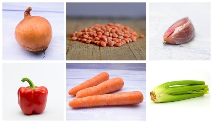 Scottish Fridge Lentil Soup Ingredients - onion, garlic, celery, red pepper, carrots and red lentils