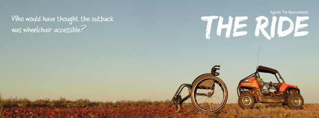 "image featuring a wheelchair and quad bike parked in the outback. Text on the image says ""The Ride"". Who would have thought the outback was wheelchair accessible?"