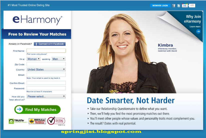 eharmony sign up for free