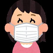 ヒダ付きのマスクを付けた人のイラスト(女性)