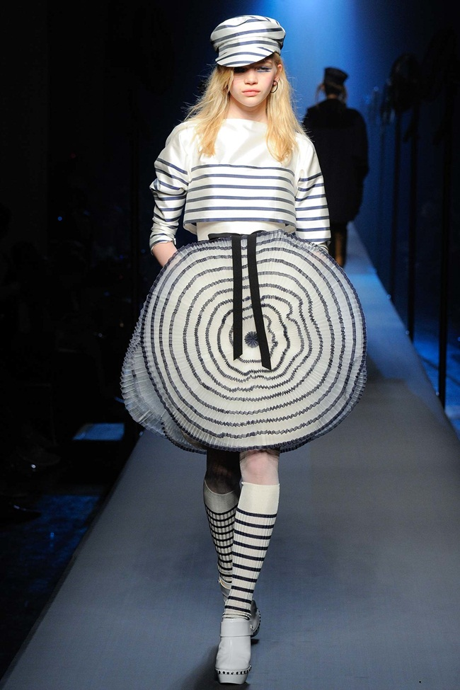 Jean Paul Gaultier Couture 2015 Fall Navy Striped Dress on Runway