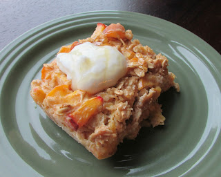 square of baked oatmeal with yogurt on top