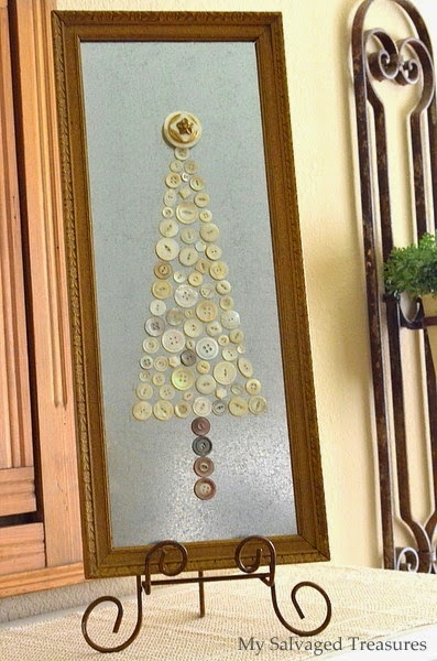 vintage button Christmas tree framed art