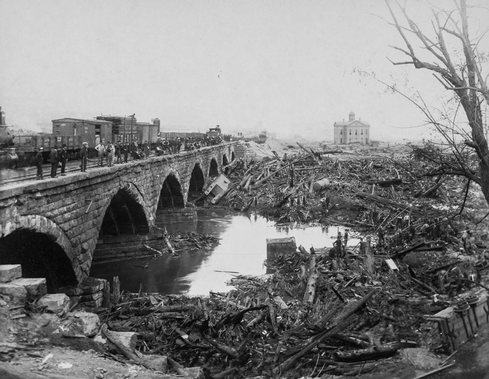 The debris pile at the Stone Bridge.