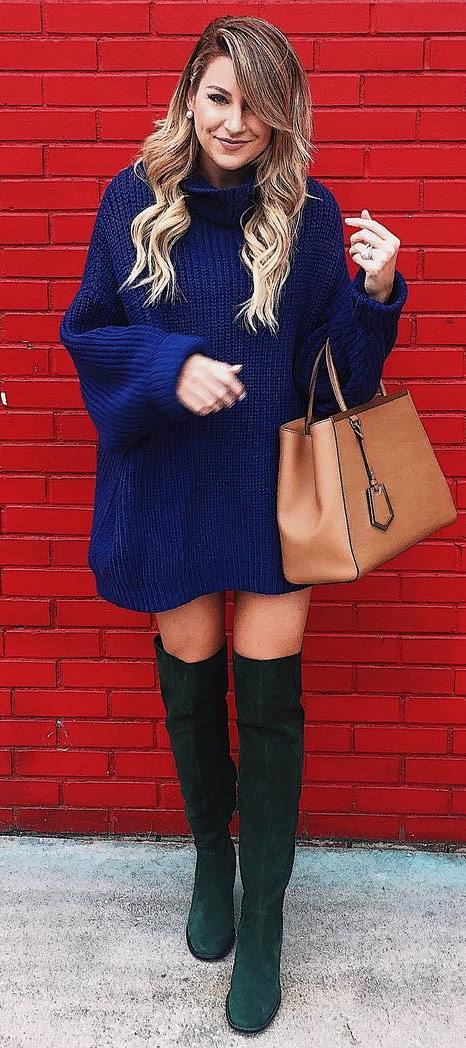beautiful winter outfit / knit oversized sweater + bag + over knee boots