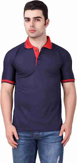Men's Polyester Blend Solid Polo T-Shirts