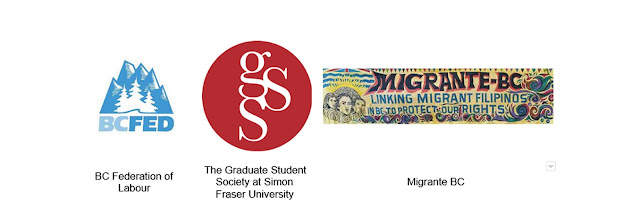 BC Federation of Labour, The Graduate Student Society at Simon Fraser University, Migrante BC