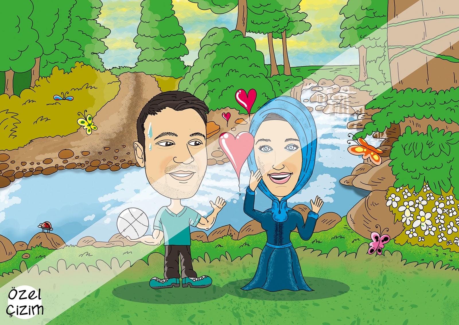 Tanışma Hikayesi Hediye Karikatürü, tanışma hikayesi, eşinizle nasıl tanıştınız, aşk hikayesi, hediye karikatür, eşinize komik hediye, komik hediye, karikatür, eğlenceli hediye,