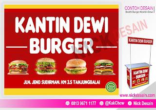 Contoh Desain Spanduk Booth Stand Burger Dewi | Percetakan Tanjungbalai