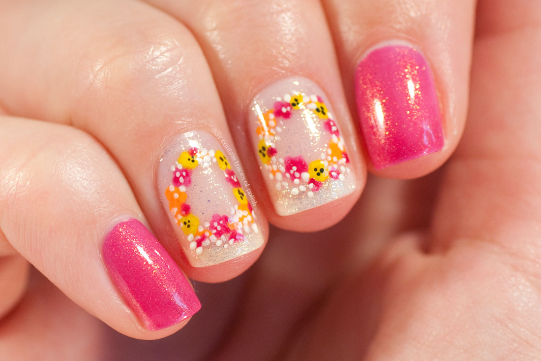 Simple Pink Floral Wreath Nail Art Design with Salon Perfect Pink Mystique