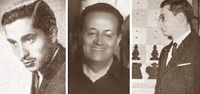 Los ajedrecistas Alejandro Beltrán, Ramon Trías y Pere Puig Pulido