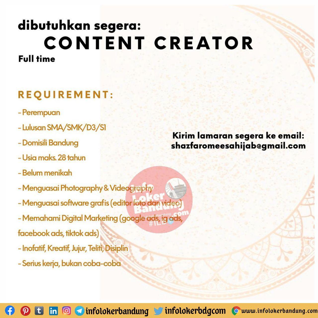 Lowongan Kerja Content Creator Sazfaromeesa Bandung November 2020