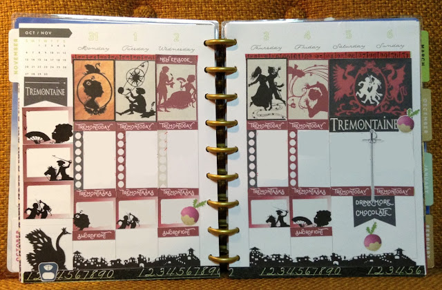 A two-page Happy Planner spread featuring the set pictured above. The stickers are arranged acros three rows and seven columns.