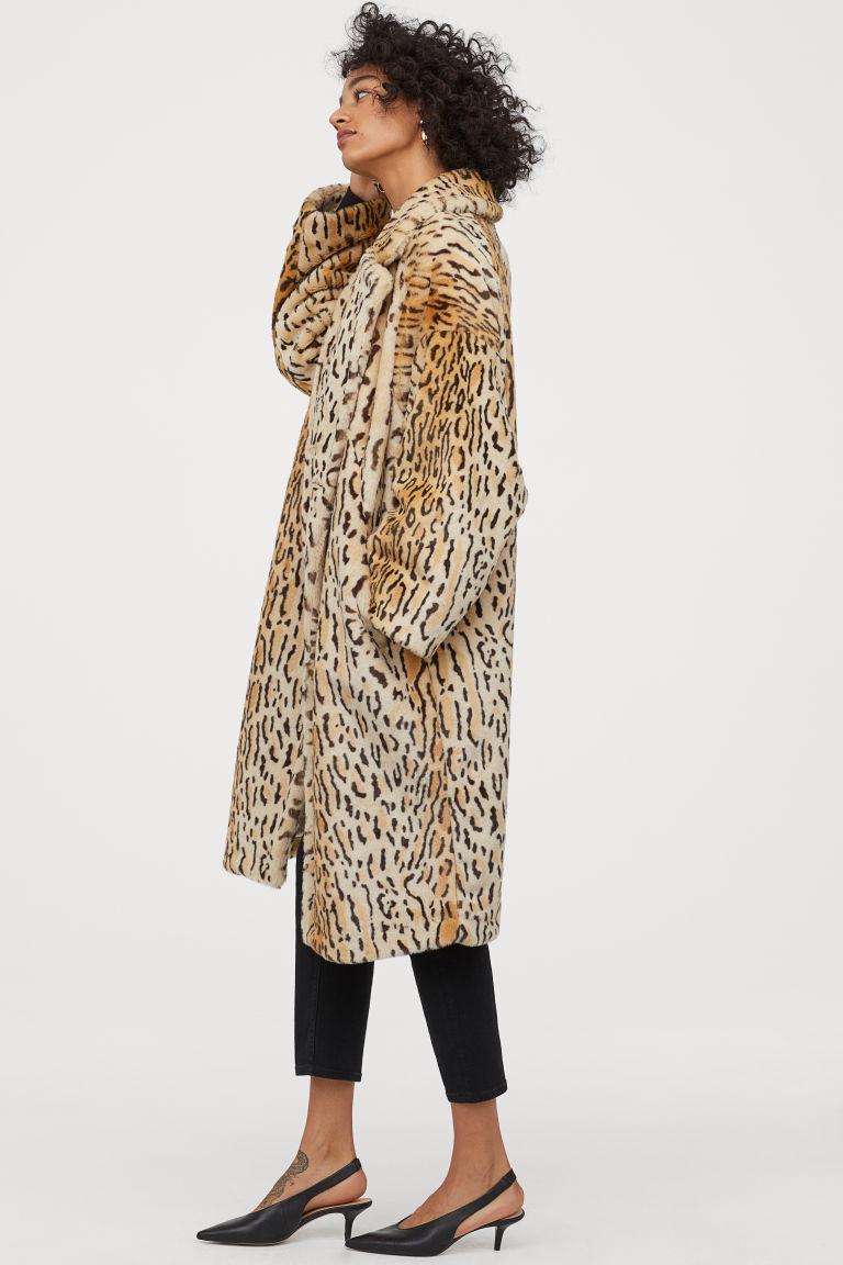 H&M faux fur beige/leopard print coat