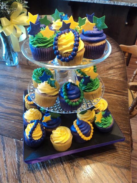 Delectable Cakes Mardi Gras Birthday Cupcakes